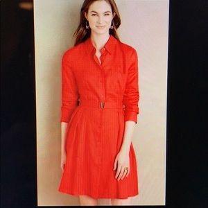 Anthropologie Red HD Laila linen shirt dress 16
